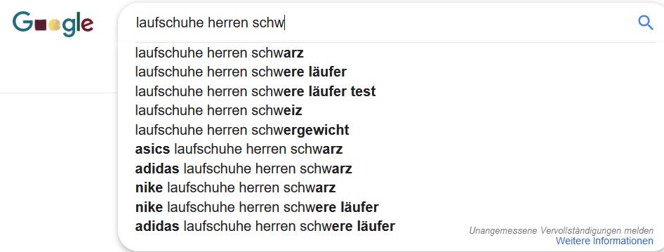 Google Suggest Beispiele zum Thema »Laufschuhe«